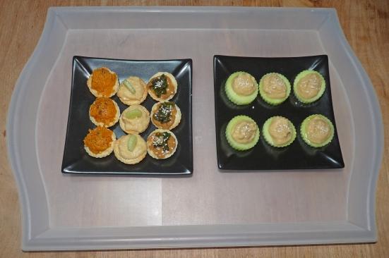 Canapés feuilletés de patate douce, houmous-concombre et purée d'amandes-feuilles de blettes et canapés concombre-houmous
