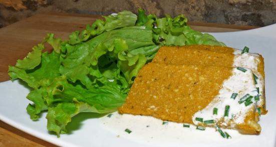 Terrine de carottes aux noix-de-cajou sauce à la crème de soja citron-ciboulette