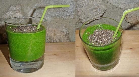 Smoothie courgettes-épinards-graines de chia