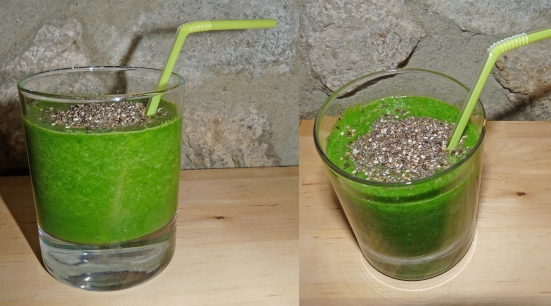 Smoothie courgettes-épinards-graines de chia