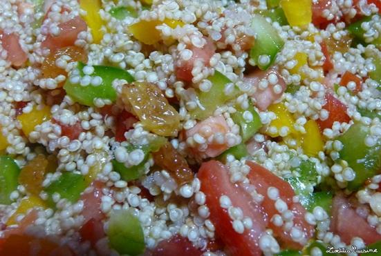 Taboulé de quinoa aux 3 poivrons, raisins blonds et citron