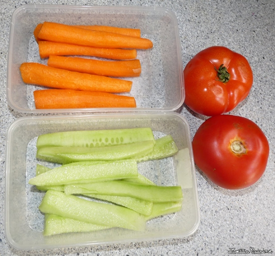 carottes, concombre et tomates