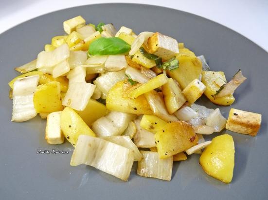 Poélée de pommes-de-terre, blette et tofu au basilic