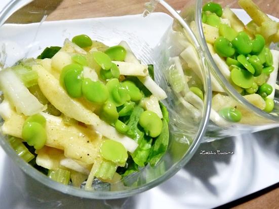 Salade allumettes : céleri, pomme, épinard et févettes