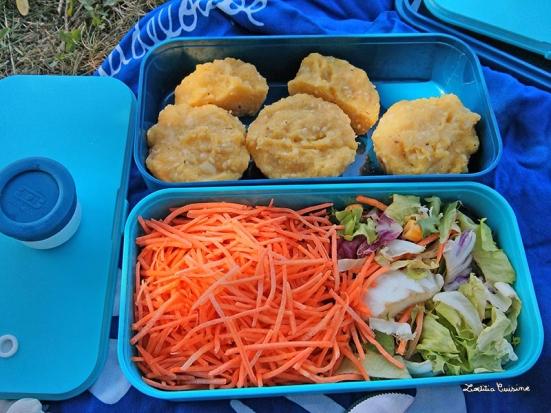 Bento galettes de polenta et salades