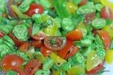 Salade de mini concombres et tomates colorées au balsamique blanc et gomasio auxalgues