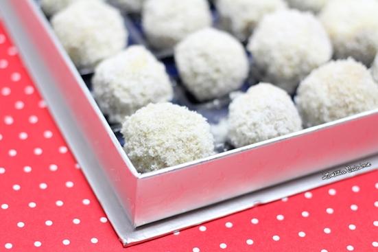 Truffes pralinées chocolat blanc coco