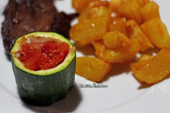 Courgettes farcie à la tomate et aux échalotes