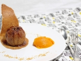 Pommes au four aux noix et quenelle de sorbet butternut et clémentine{vegan}