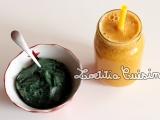 Jus de carotte, betterave jaune et pêche blanche avec glace banane, maca et spiruline {Powered by plant raw veganbreakfast}