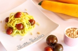Spaghetti de courgette jaune sauce avocat et citron vert {Vegan etCru}