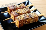 Brochettes de tofu mariné{Véganes}