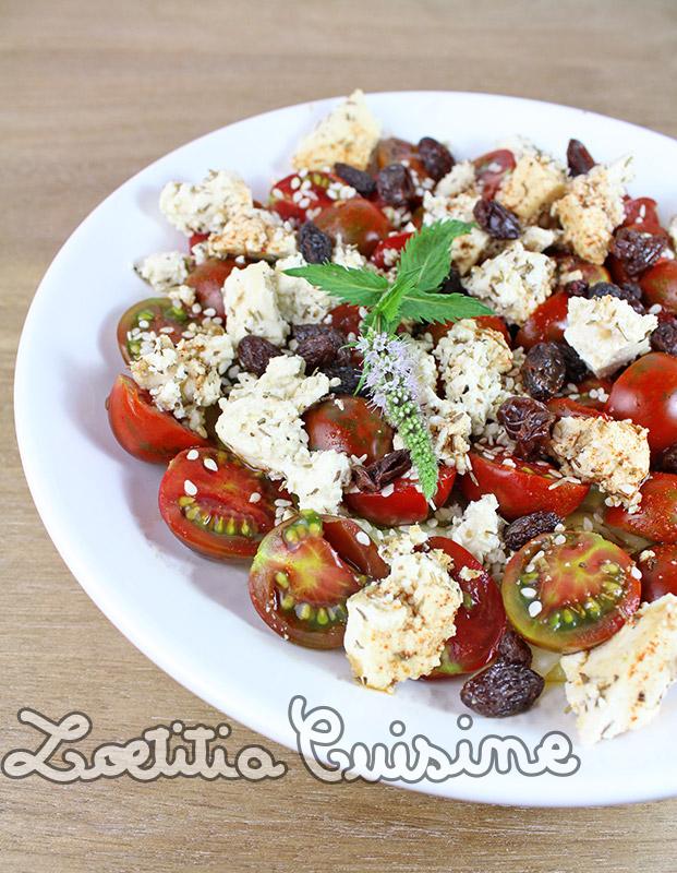 Salade de pâtisson et tomates cerises